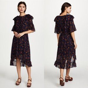 Madewell High-Low Floral Ruffle Midi Dress